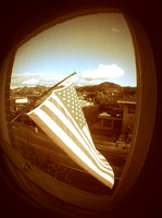 The flag makes noise in the wind. Just outside our window. But adds a nice touch, though.