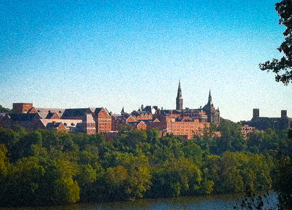 Washington D.C.: Georgetown, impossible shot from GW Parkway, during a traffic jam, iPhone shot